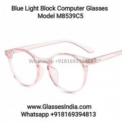 Pink Round Blue Light Filter Computer Glasses